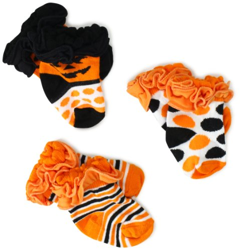 Jefferies Socks Baby-Girls Newborn Ruffle Halloween Socks 3 Pair Pack Gift Box