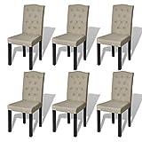 vidaXL 6x Esszimmerstuhl Esszimmer Stuhl Küchenstuhl Stühle Beige