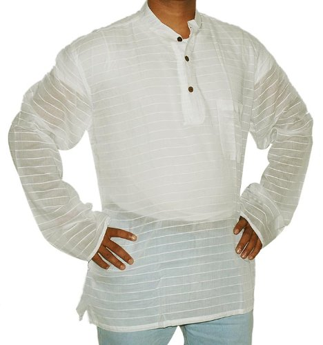 Indian Cotton Short Mens Casual Kurta with Standing Collar Neckline Size XXL