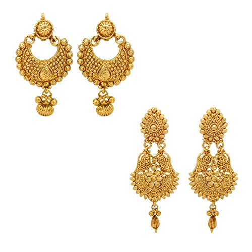 YouBella Gold Plated Jewellery Combo of Traditional Earrings for Girls and Women