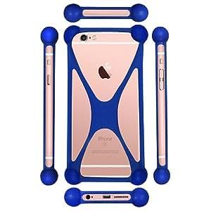Casotec Universal Silicone Bumper Frame Soft Gel Phone Case Cover for Panasonic P61 - Dark Blue
