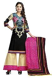 Shaily Retails Women's Black Cotton Printed Unstitched Dress Material