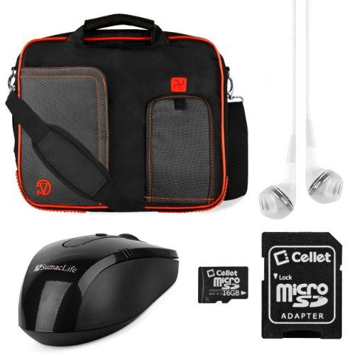 "Pindar Messenger Carrying Bag (Red) For Sony Vaio Fit / Flip 13 13.3"" Ultrabook Laptop + White Vangoddy Headphones + Black Sumaclife Usb Mouse + 16Gb Memory Card"