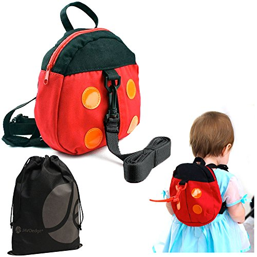 JAVOedge Red Ladybug Toddler Backpack With Safety Harness with Bonus Drawstring Storage Bag - 1