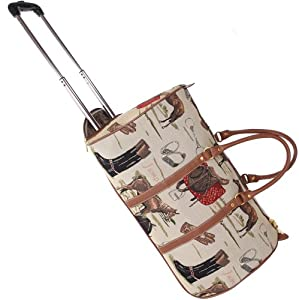Signare Canvastapestry Wheeled Holdall Hand Luggage In Horse Design