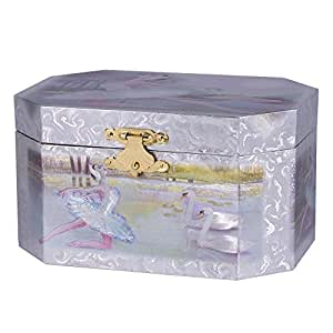Silver and pink ballerina swan lake music for Amazon ballerina musical jewelry box