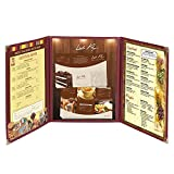 30 Pack Menu Cover 8.5x14 inch Triple Fold 6 view double stitch Book Restaurant Cafe Page