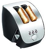 2 Scheiben Toastautomat Brotröster Edelstahl Design Doppelschlitz Toaster Aufwärmen, Auftauen Stop Taste 1000 Watt