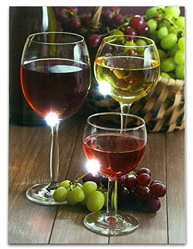 Wine Decor Wall Art With Led Lights -- Canvas Print -- Wine Glasses With Wine Bottle And Grapes Picture -- 16X12 Inch