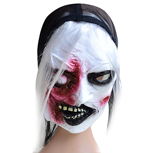 Chichic Halloween Mask with White Hair, Party Mask, Witch Mask, Creepy Scary Toothy Zombie Ghost Mask, for Best Halloween Props, Halloween (Creepy Witch Costume)