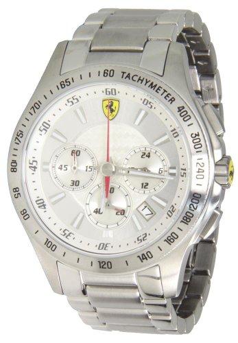 Ferrari 083004744mm plata pulsera de acero & Case Mineral Reloj para hombre