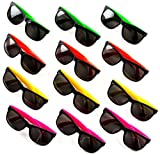 24 Neon Sunglasses For Kids and Adults - Bulk Party Favors for Kid, Goody Bag Fillers, Stocking Stuffers, Bulk Party Pack of 2 Dozen by Neliblu