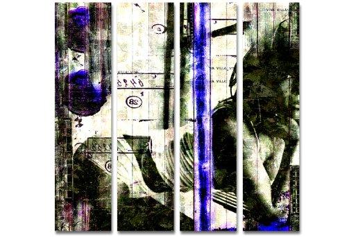SENSATIONSPREIS! Bild auf Leinwand - modern Art Design 4teilig (Viva_4x30x110cm) Kunstdruck auf Rahmen mit Bilder Motiv (abstrakt Frau erotisch Konturen Schrift Zahlen grün weiß blau) . Schnäppchen, ideal als Geschenk für Familie & Freunde. Schöner wohnen mit Foto als Bild - Picture at Home. 100% Made in Germany - Qualität aus Deutschland. Weitere schöne Foto Bilder im Bild Online Shop .