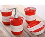 Bathroom Accessory Sets - European red and white striped ceramic Four set / wedding supplies / Bathroom Amenities / wash suits