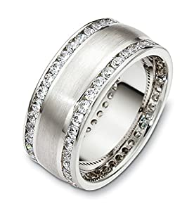 Mens 14K White Gold, Double Channel 8.5MM Wedding Band, 1 5/8 cttw