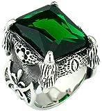 Gnzoe Jewelry, Hommes En Acier inoxydable Anneaux de mariage 4 Prongs Set Gros Coupe Rectangle,Vert Taille 54