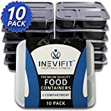 INEVIFIT Premium Quality 3 Compartment Food Containers, BPA Free, Reusable, Durable 36 oz. Stackable 10 Pack Meal Prep, Microwavable & Dishwasher Safe with Leak Resistant Technology
