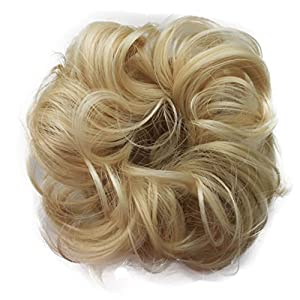 PRETTYSHOP Scrunchy Scrunchie Bun Updo Hairpiece Hair Ribbon Ponytail Extensions Curly Diverse Colors (bleach blonde 88)