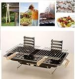 MQ BBQ Grill Tischgrill Hibachi Kohlegrill Mini-Grill für Balkon & unterwegs