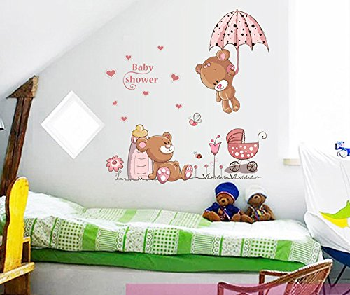 ufengke niedlichen baby b ren und blumen dach wandsticker. Black Bedroom Furniture Sets. Home Design Ideas