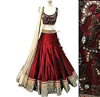 FUTURE COLLECTION Maroon Silk Zari Embroidered Lehenga Choli