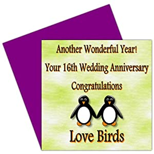 16th Wedding Anniversary Gift List : Your 16th Wedding Anniversary Card16 YearsHolloware Anniversary ...