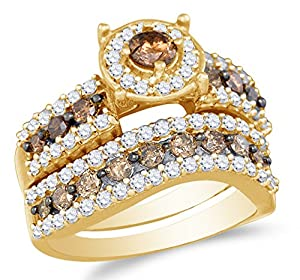 Size 5.75 - 10K Yellow Gold Chocolate Brown & White Round Diamond Halo Circle Bridal Engagement Ring & Matching Wedding Band Two Piece Set - Prong Set Solitaire Center Setting Shape with Channel Set Side Stones - Curved Notched Band (1.70 cttw.)