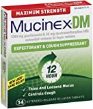 Mucinex Dm, Maximum Strength, Expectorant and Cough Suppressant, 1200 mg Guaifenesin & 60mg Dextromethorphan Hbr, 14 Extended Relase, Bi Layer Tablets