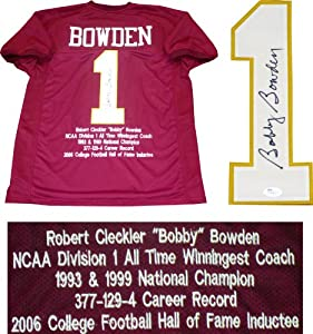 Bobby Bowden Autographed Florida State Univeristy Seminoles Embroidered Jersey (JSA) by Hollywood+Collectibles
