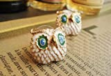 Change New fashion hot small cute big eyes of the lacquer that bake the owl earrings