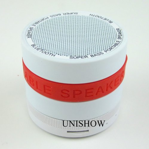 White Unishow(Tm) Super Bass Portable Mini Wireless Bluetooth Speaker Support Hands-Free Function Tf Card Built-In Fm Radio 360° Volume Adjustment For Pc/Ipod/Iphone/Mp3/Mp4 -Free Two More Colors Of Rubber Bands, Diy Your Speaker As You Like!!