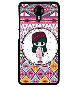 Fuson Premium Pattern Girl Metal Printed with Hard Plastic Back Case Cover for Micromax Canvas Xpress 2 E313