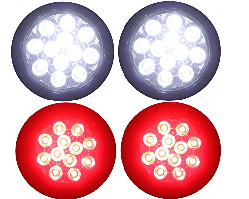 "2 Clear Lens Red + 2 White 4"" Round Led Stop Turn Tail Back-Up Reverse Fog Lights Include Lights Grommet Plug For Truck Trailer Rv"