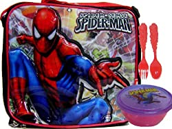 Spider Man Web-Head Lunch Box Snack Container + Fork & Spoon Set
