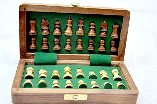 """Kimaro 7"""" Magnetic Form Fitting Folding Wooden Travel Chess Set - 7 in x 7 in - With Wood Pieces in Case - Handmade 3"""
