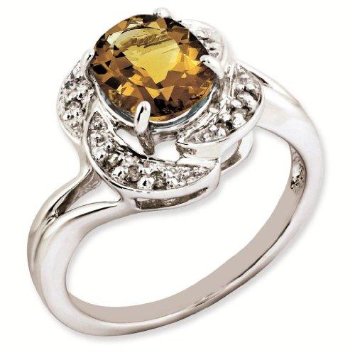 Sterling Silver Genuine Oval Whiskey Quartz & Diamond Ring