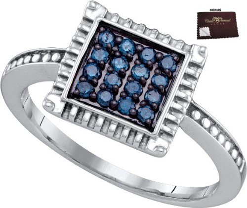 927 Yellow or White Gold Plated Ring 0.26 ct Blue Diamonds in Black Finish w/ White Diamond Accent Set in Square Top - Incl. ClassicDiamondHouse Free Gift Box & Cleaning Cloth