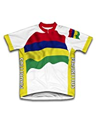 Mauritius Flag Short Sleeve Cycling Jersey for Women