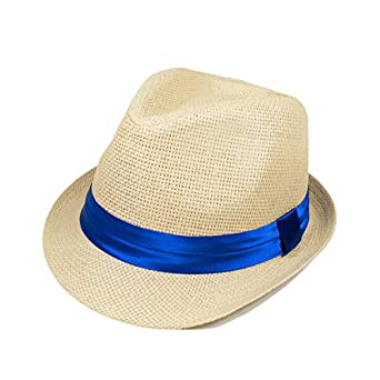 Classic Natural Fedora Straw Hat, Blue Band