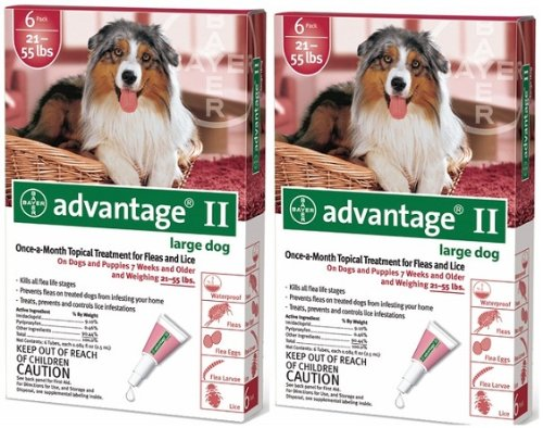 ADVANTAGE II Dog Flea Control 21-55 lbs Red 12 Month