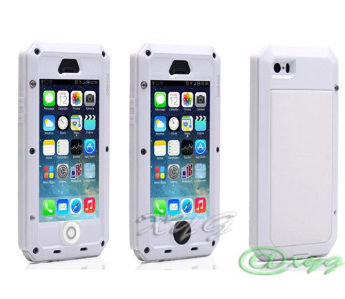 Great Price Newest Extreme Shockproof Waterproof Dust/Dirt Proof Aluminum Metal Gorilla Glass Military Heavy Duty Protection Cover case for Apple iPhone 5 5S 5G Home Key for Fingerprint @XYG (8-white/white/silver)
