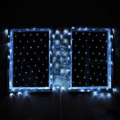 "Connectable Christmas Led Net Light With 176 Leds 40""X80"" 120 Volt Bright White Green Wire, By Ledwholesalers 2083Wh"