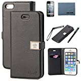Case for iphone 5s,Case for Iphone 5, By Ailun,Wallet Case,PU Leather Case,Cut,Credit Card Holder,Flip Cover Skin,(Black),with Screen Protect and Styli Pen