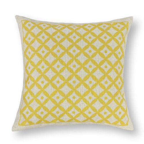 "Euphoria Home Decorative Cushion Covers Pillows Shell Cotton Linen Blend Ecru Yellow Cute Circles Chain With Dots 18"" X 18"" front-999810"