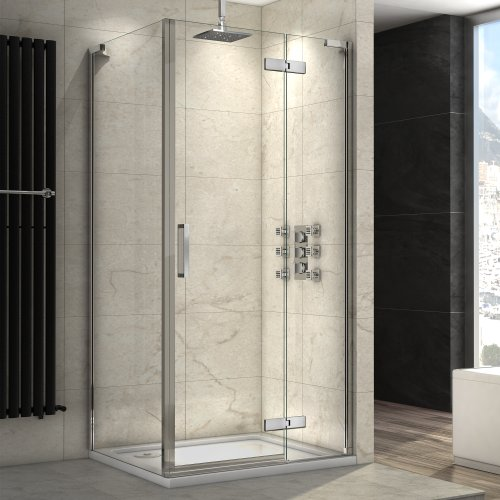 1000 x 800mm Luxury Pivot Hinge EasyClean Glass Shower Enclosure with Side Panel & Stone Tray Set
