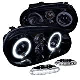 VW Golf GTI Glossy Black Halo Projector Headlights+LED Bumper DRL Fog Lamps