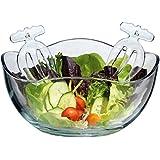 Large Wave Round Glass Salad Serving Bowl, Set of Salad Hand Serving Utensils Included