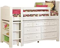Big Sale Bolton Furniture 9811500LS8020 Cottage Low Loft Storage Bed with Wakefield 7 Drawer Dresser and Bookcase, White