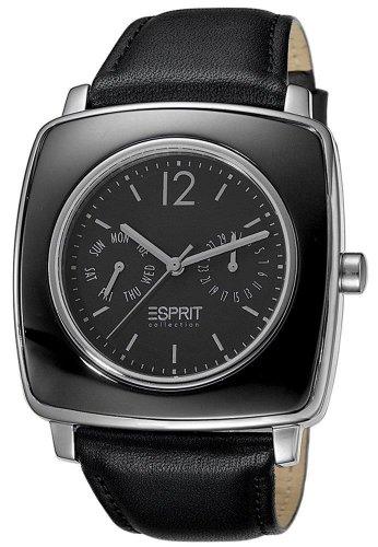 Esprit  Tyche Night - Reloj de cuarzo para mujer, con correa de cuero, color negro