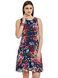 Blue Floral Print Poly Georgette with linen Dress